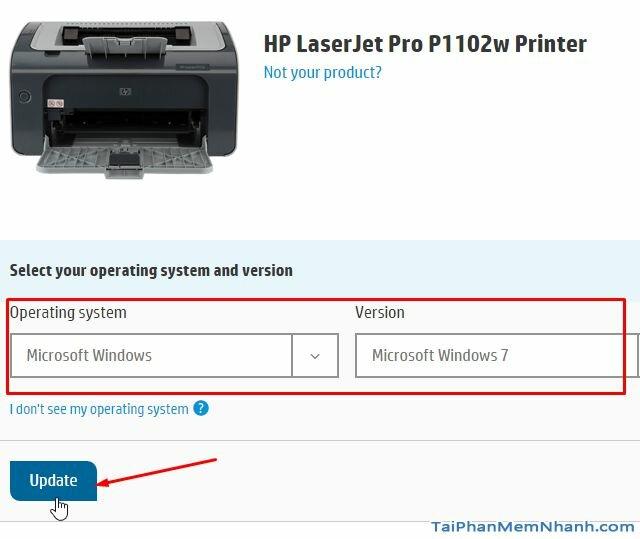 chọn hệ điều hành cho driver máy in HP P1102w