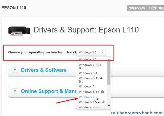chọn hệ điều hành driver epson l110