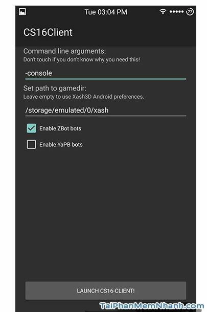 khởi chạy game counter strike 1.6 trên android