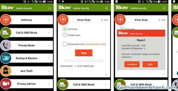 Hình 2 Tải phần mềm chống nghe lén, diệt virus Bkav Mobile cho Android