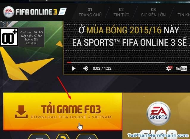 vào trang tải game fifa online 3 bộ cài đầy đủ