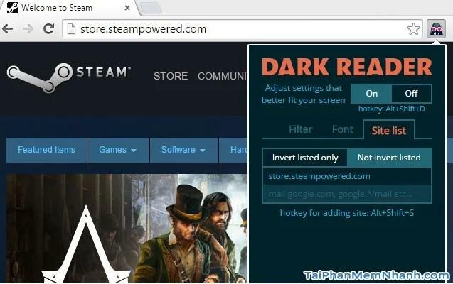 Thay đổi giao diện toàn bộ trang web sang màu đen