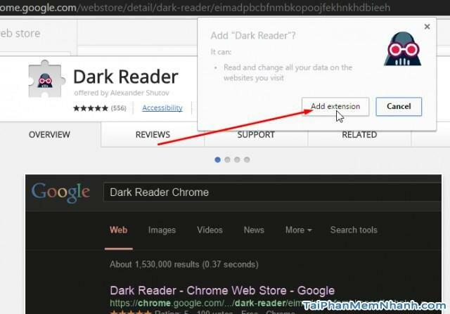 Tiến hành cài tiện ích dark reader đổi màu trang web