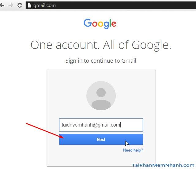 điền email đăng nhập gmail