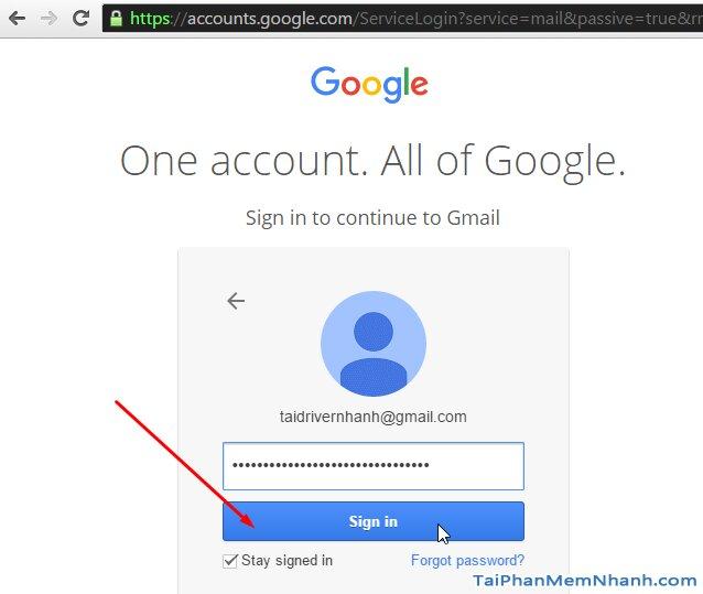 nhập mật khẩu đăng nhập gmail vào