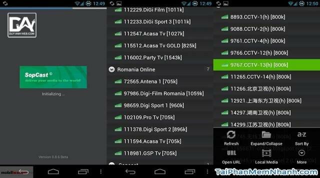 tải sopcast xem tivi, bóng đá cho android