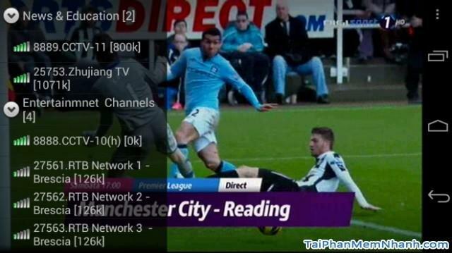 hình ảnh xem bóng đá bằng sopcast trên android