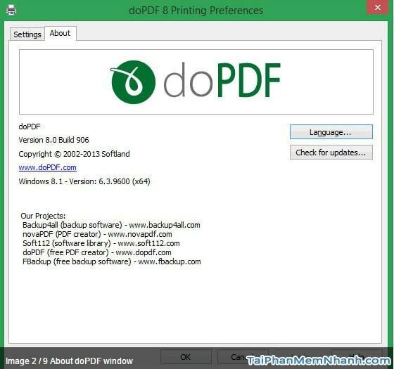 phần mềm chuyển đổi văn bản sang PDF - DoPDF