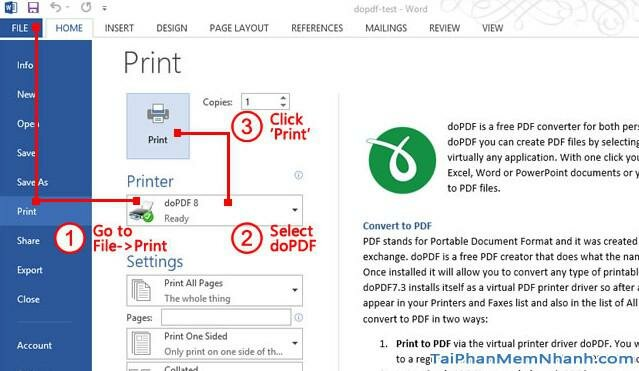 sử dụng dopdf trên office 365