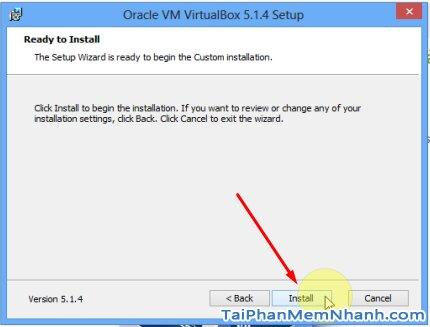 nhấn Install để bắt đầu cài Virtualbox