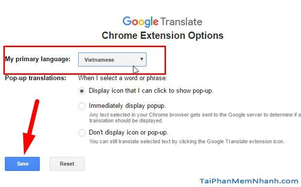 cài tiếng việt cho tiện ích google translate