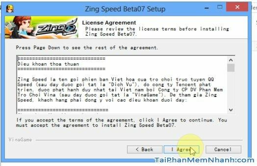đồng ý điều khoản cài đặt game 2s zing speed