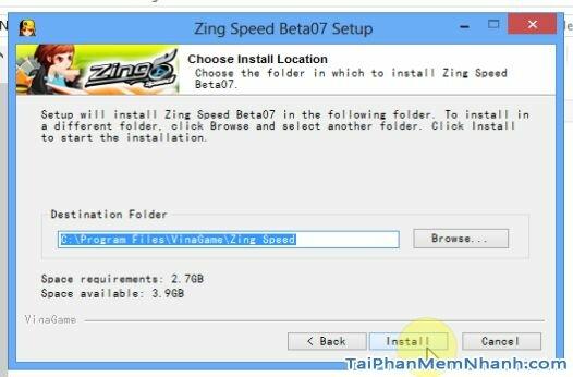 Chọn thư mục cài đặt game 2s zing speed