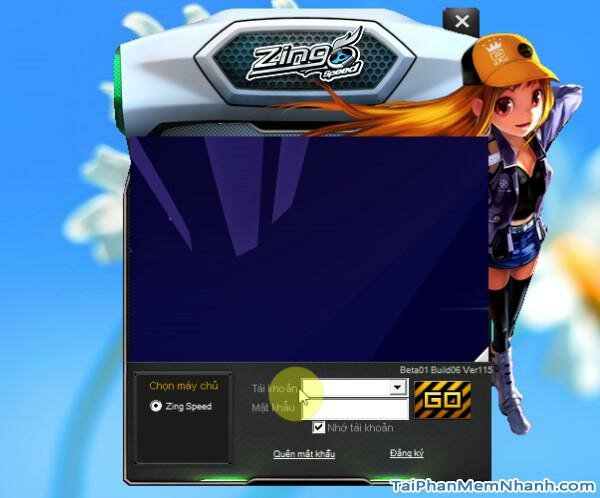giao diện đăng nhập game 2s zing speed