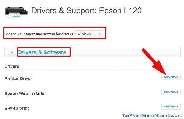 Bước 2: Chọn hệ điều hành cho driver epson l120