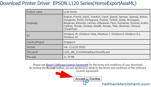 Nhấn Accept để tải driver epson l120