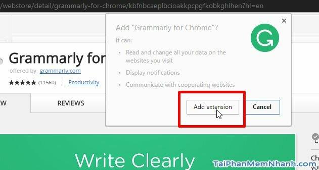 Nhấn Add Extension để cài đặt tiện ích kiểm tra ngữ pháp câu tiếng anh