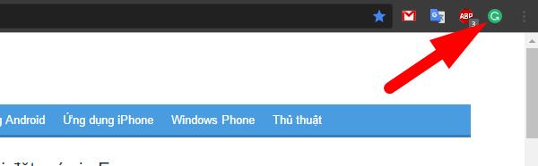 Biểu tượng tiện ích Grammarly trên Chrome