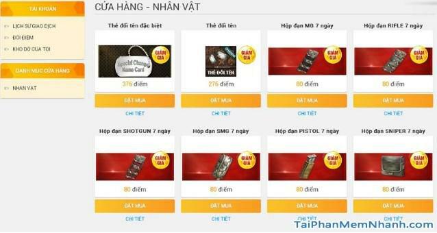 cửa hàng webshop vua đột kích - bán vật phẩm