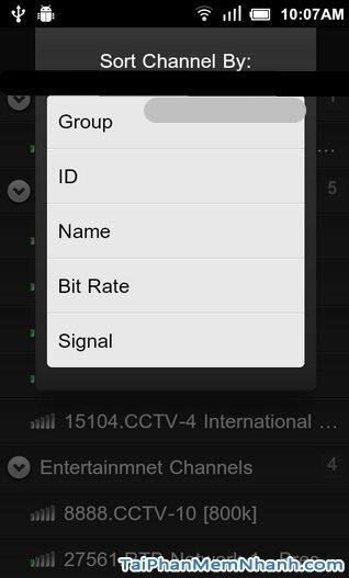 Hình 8 Hướng dẫn sử dụng Sopcast cho điện thoại Android
