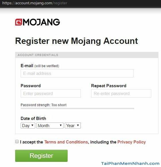 đăng ký tài khoản minecraft