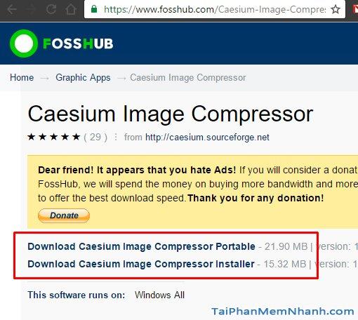 Trang tải phần mềm nén ảnh Caesium Image Compressor