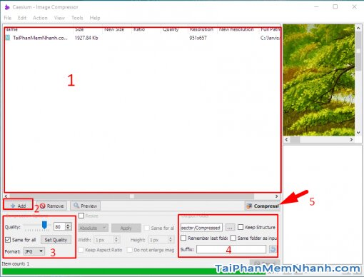 Giao diện phần mềm Caesium Image Compressor