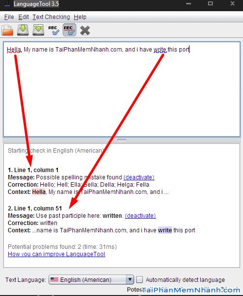 Giao diện chương trình sửa ngữ pháp, chính tả LanguageTool trên Windows