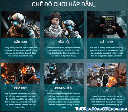 Game xuất kích có nhiều chế độ chơi