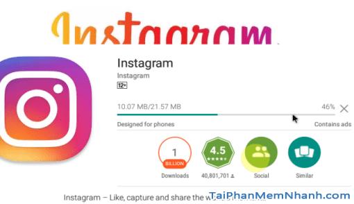 Đang cài đặt instagram