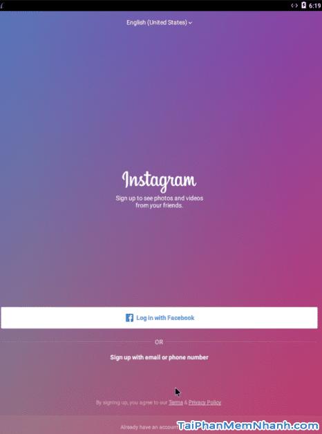 giao diện chương trình instagram