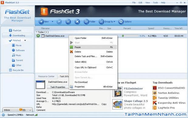 Tải và cài đặt phần mềm download file, dữ liệu - FlashGet cho PC + Hình 2