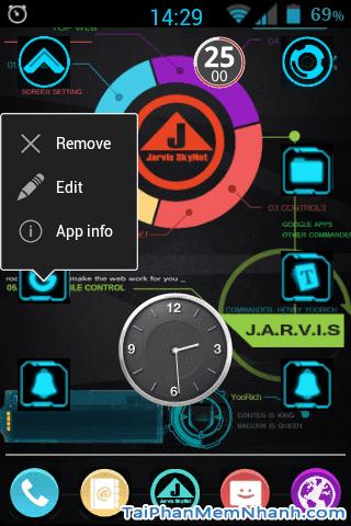 giữ để hiện menu sửa icon android