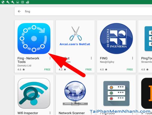 Bước 2: Tìm kiếm ứng dụng có tên là Fing