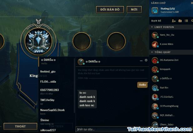 giao diện phần chat của game liên minh huyền thoại client mới
