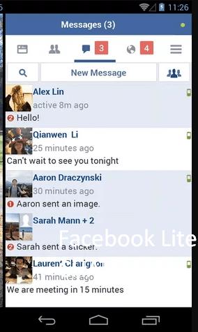 phần chat, tin nhắn của facebook lite