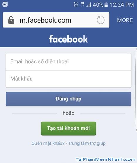 truy cập facebook trên android