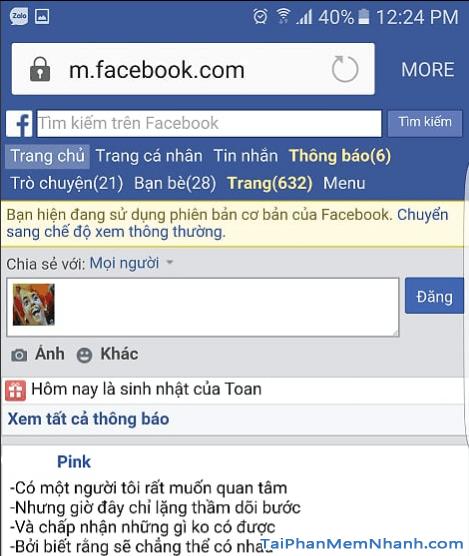 giao diện facebook trên trình duyệt android