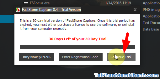 Tải fscapture portable - Hình 5 chọn continue trial