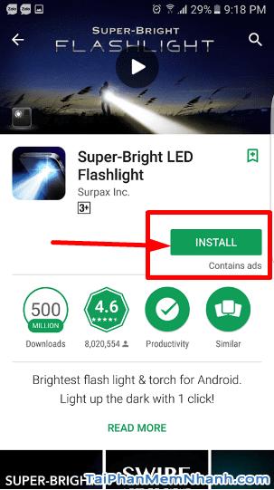 nhấn nút Install hoặc cài đặt để cài đèn pin