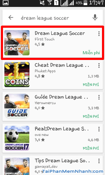 Cài đặt game Dream League Soccer bước 3