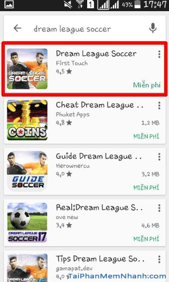 Cài đặt game Dream League Soccer bước 3