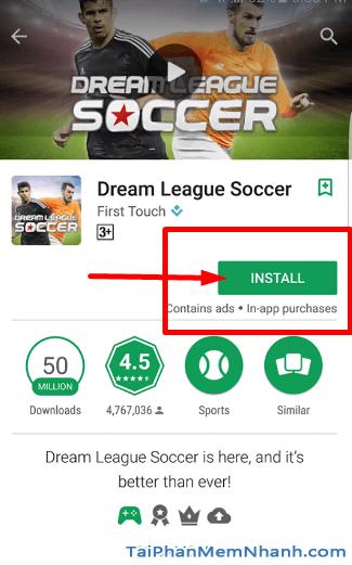 Bước 4 cài đặt Dream League Soccer