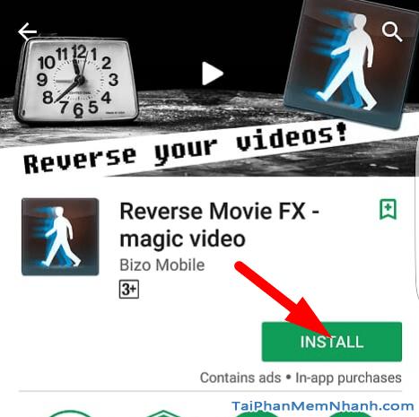 Nhấn nút install hoặc cài đặt để cài reverse movie fx