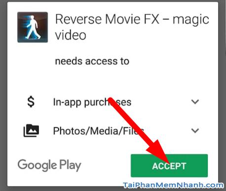 cấp quyền cài ứng dụng reverse movie fx