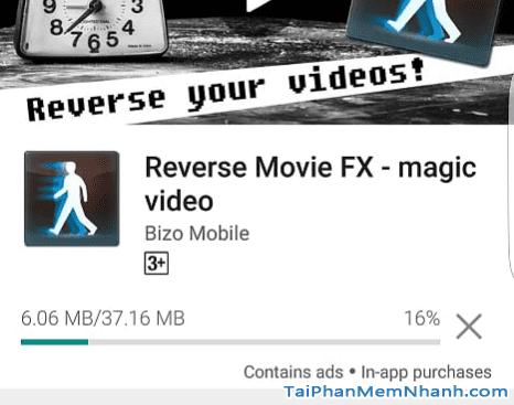 đợi ứng dụng đảo ngược video hoàn tất