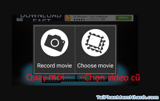 chọn video hoặc quay mới để tiến hành đảo ngược video