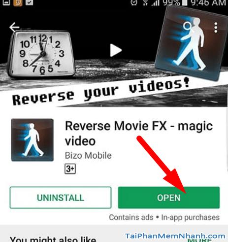 mở ứng dụng đảo ngược hành động trong video
