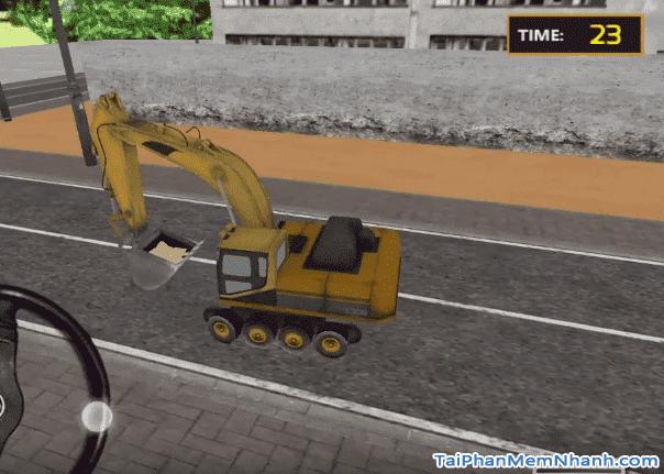 lái máy xúc máy cẩu chở cát tới xe ô tô