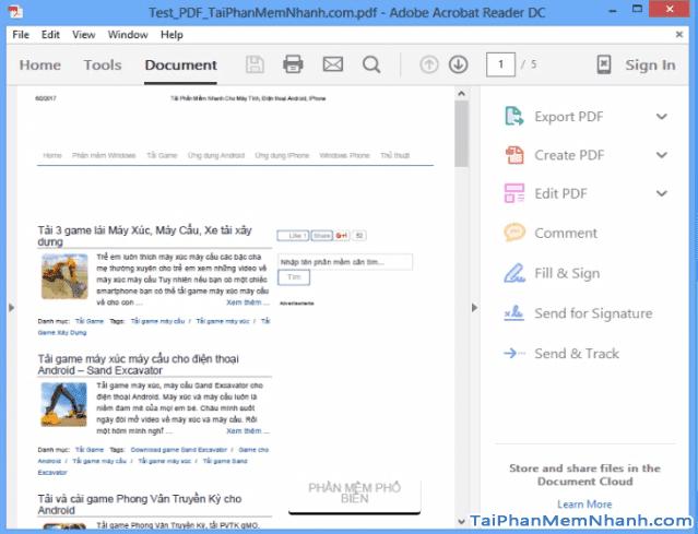 Adobe Reader mở một file PDF để đọc